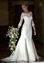 Free Shipping Mermaid Scoop Sweep Train Lace Victorian Style Wedding Dress With Half Sleeves AW406