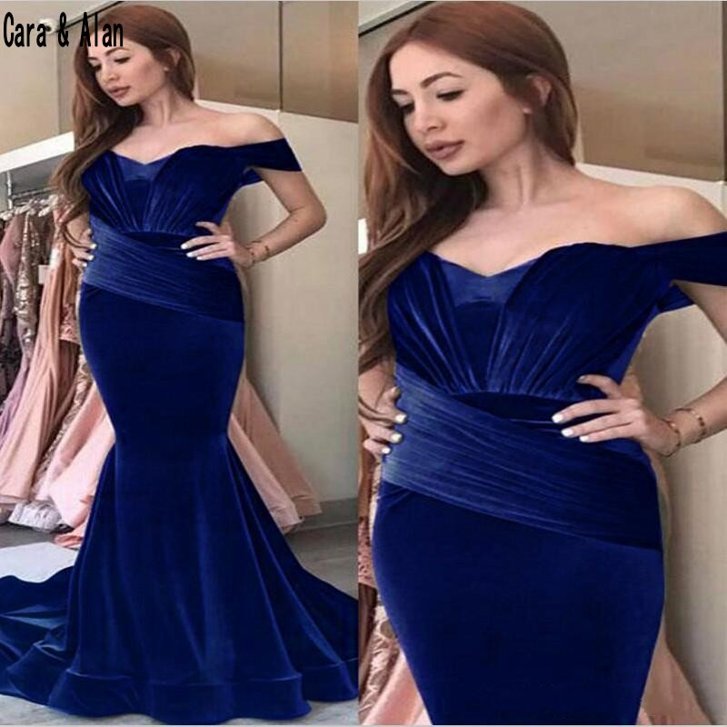 Dark Blue Velvet Prom Dresses Mermaid Formal Evening Wear Off Shoulder Evening Gowns Pleated 2019 Custom Made Party Dress