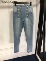 FOMOLAYIME модные джинсы 2018 Для женщин Высокое качество двубортный карандаш брюки джинсы