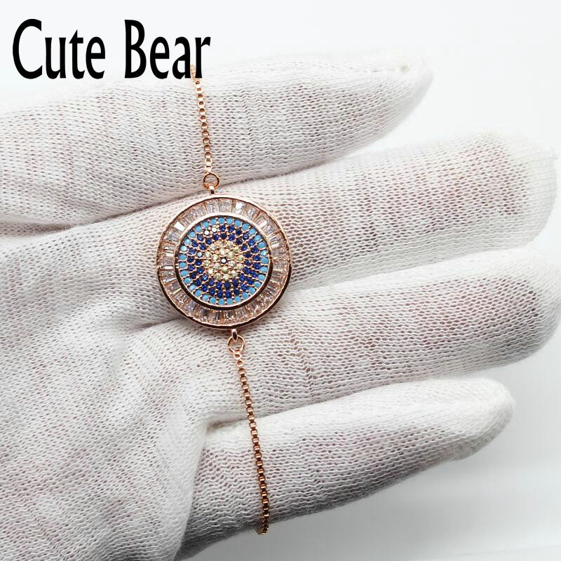 Cute Bear Brand Luxury Jewelry Women Bracelet Fashion Chain Bracelets Charm Micro Pave CZ Zircon Eyes Bracelet For Women 2018 new zircon bracelets men jewelry cubic micro pave cz crown charm