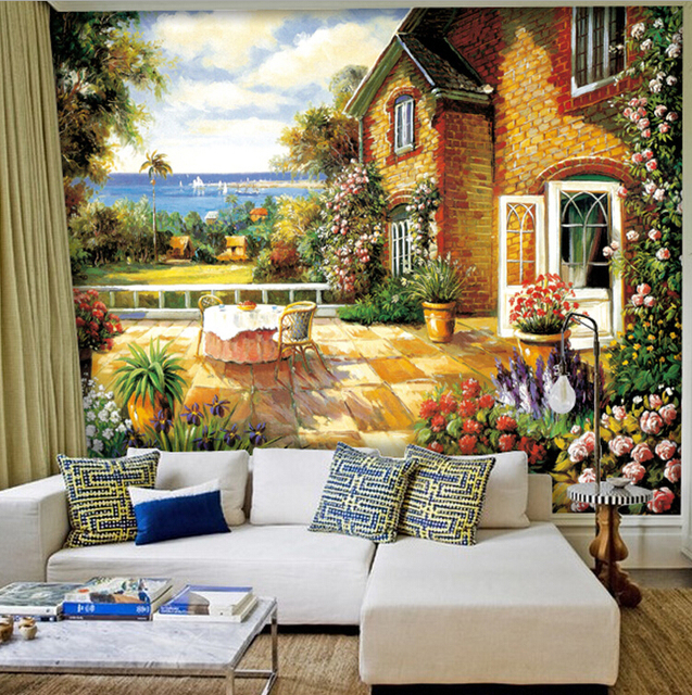 europe country oil canvas painting wall murals sofa background