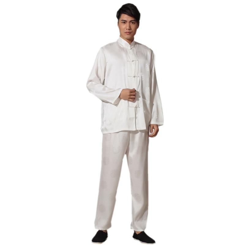 New Chinese Traditional Men's Satin Rayon Kung Fu Suit Vintage Long Sleeve Tai Chi Wushu Uniform Clothing M L XL XXL 3XL L070612