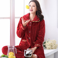 New 2016 Warm Winter Thickened Long Sleeved Pants Ladies Flannel Pajamas Warm Woman Pajamas Free Shipping