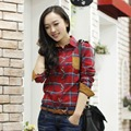 Veri Gude Spring and Fall Women Plaid Shirt Cotton Shirt Long Sleeve Blouse Free Shipping