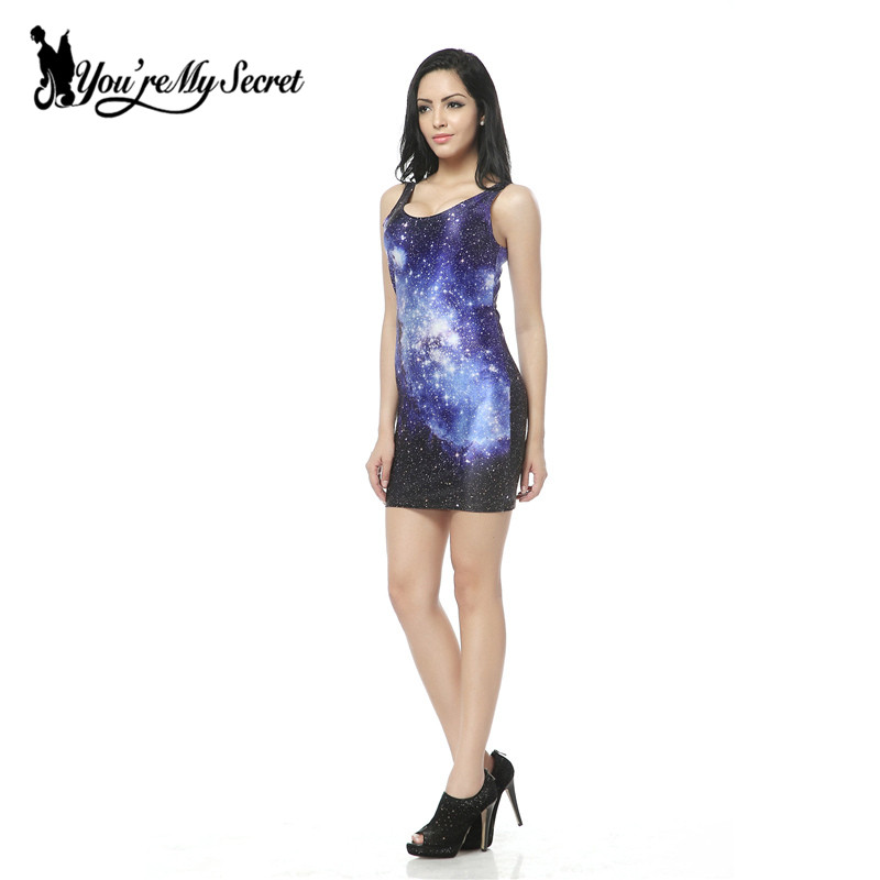 [Youre My Secret] Original Galaxy Star Purple Tank Dress Womens Black Milk Tight Vest Sleeveless Shirts Drop shipping