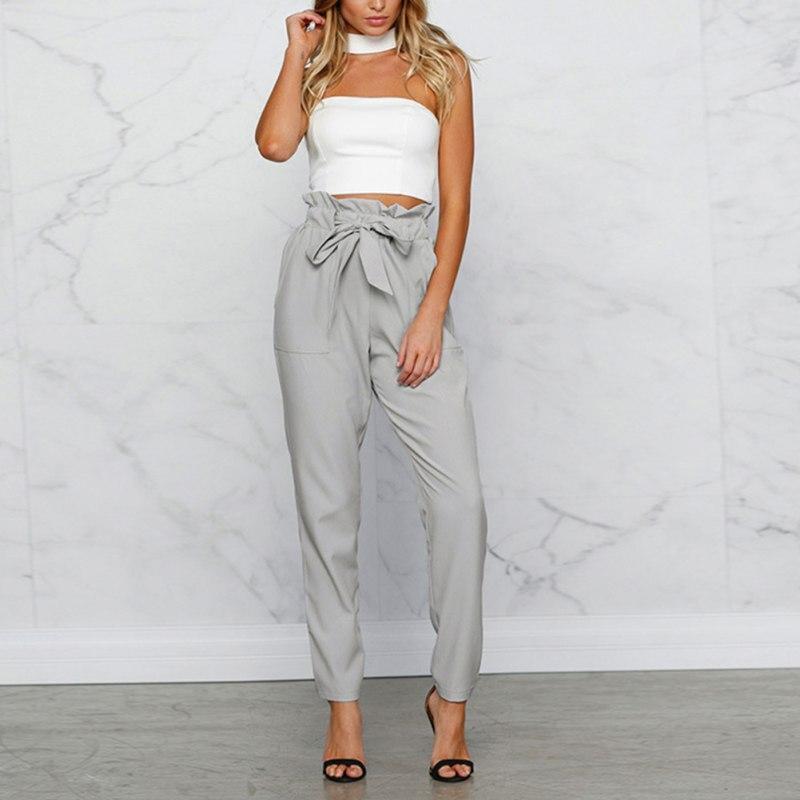 Fashion Bow Ruffles Trousers For Women Drawstring High Waist Casual Elastic Waist Pants Pockets Solid Sweet Harem Pants Summer