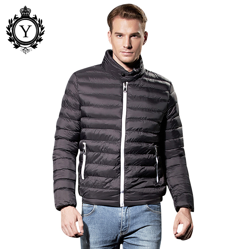 Coutudi Solid Black Winter Jacket Men Thin Down Parka Jacket Male