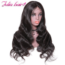 Ali Julia Hair Brazilian Remy Human Hair Wigs 360 Lace Front Body Wave Wig 150% 180% Density For Choice(China)