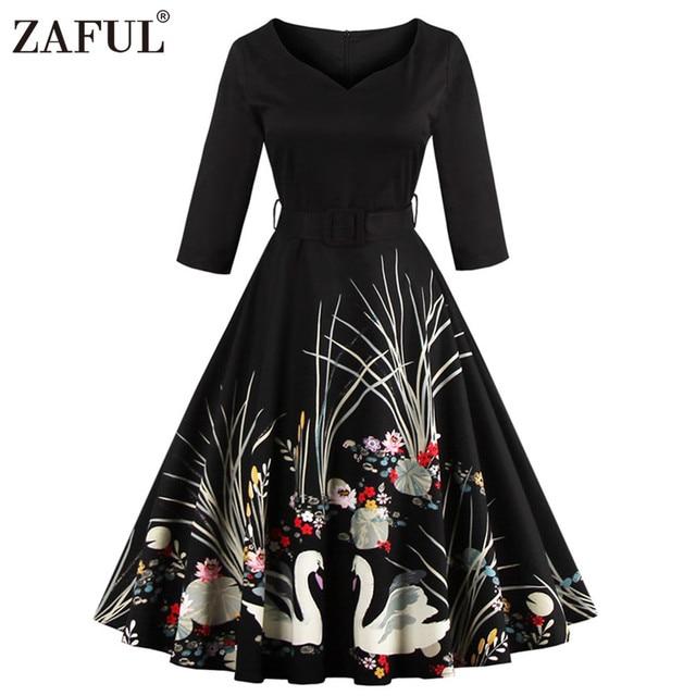 ZAFUL 2017 New Autumn Wome Vintage dress swan print robe 50s Audrey hepburn 3/4 sleeve female Ball Gown Party Dresses Vestidos