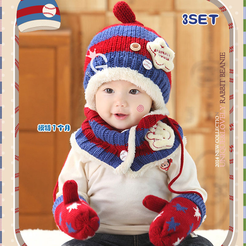 24d9254f89c721 2015 New Bonnet Enfant Fashion Baby Boy Winter Hat scarf and gloves three  or two piece Infant Boys Winter Hat
