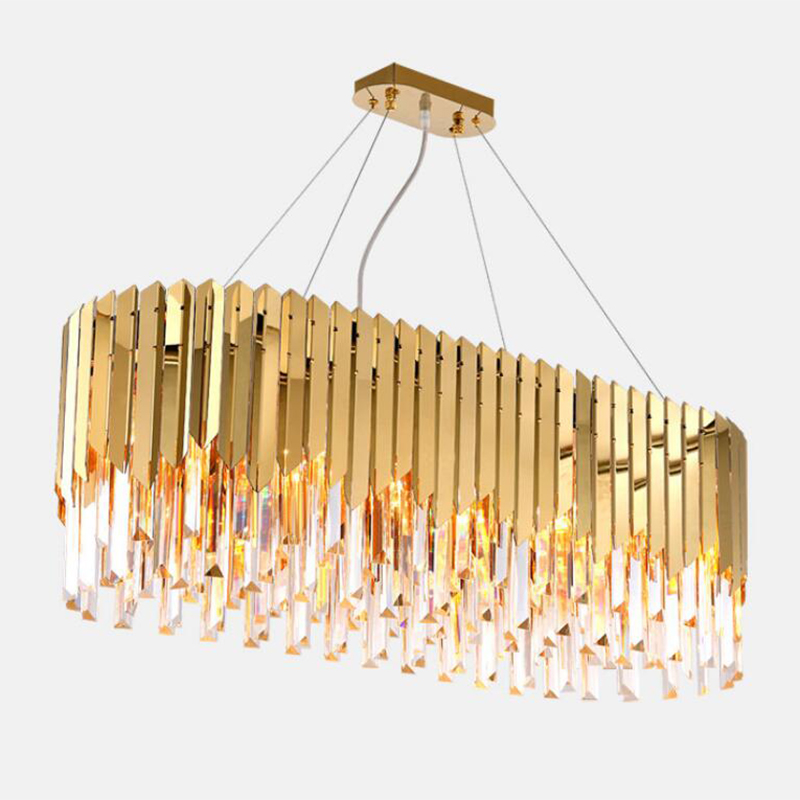 jmmxiuz Luxury Modern Crystal Chandelier For Dining Room Rectangle Gold Home Lamp Crystal Kitchen Island LED Crystal Chandeliers