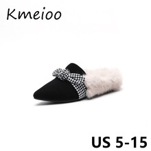 Kmeioo Woman Shoes US Size 5-15 2018 Fashion Bow Tie Loafers Slip On Women Flats Plush Shoes Casual Autumn Winter Shoes Women women slipper gold embroidered animal pattern women flats bow tie decor women shoes cover toe fashion chic suede autumn shoes