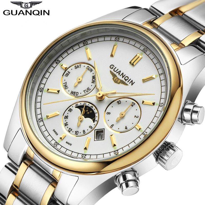 ФОТО Relogio Masculino 2016 GUANQIN Quartz Brand Watches Men Top Luxury Waterproof 100M Men's Wristwatches Clock Male Hours relojes