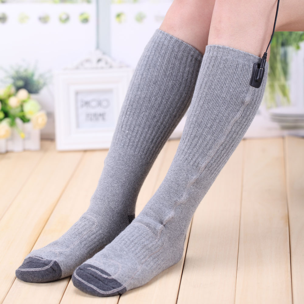 High Tube Gray EUR 38-44 Men & Women Cotton Heated Socks Removable USB Heat Electric Warm Socks Warm Feet In Winter