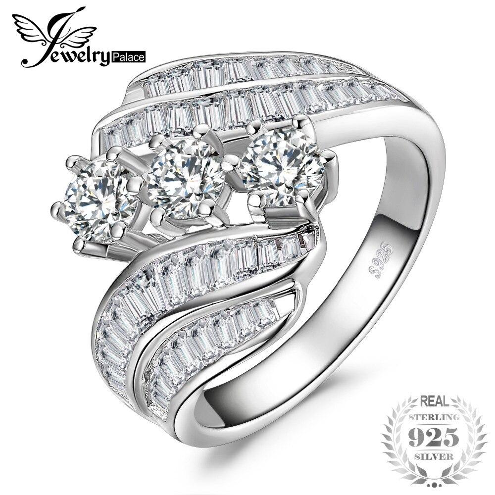 JewelryPalace витой набор канала багет обход группы 6 зубец 3 камня 5ct кубического циркония обещание Свадьба Обручение кольцо 925 St