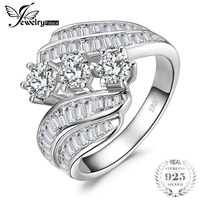 JewelryPalace Channel Set Baguette Bypass Band 3 Stone 5ct Cubic Zirconia Promise Wedding Engagement Ring 925 Sterling Silver