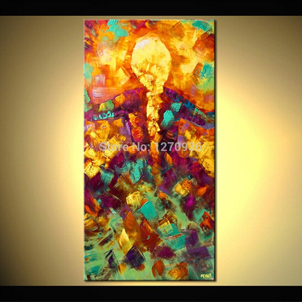 Peint à La main de Style Abstrait Peinture À L'huile sur Toile À La Main Mur Motifs Or Coloré Portrait Danseur Fille Toile Peinture Décor