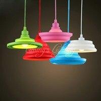 Más bajo! colorido E27 Hogar Alambre Base de colores DIY Flexible del gel de sílice Forma Colgante Lámpara de Techo de Luz Colgante de Iluminación de la Decoración