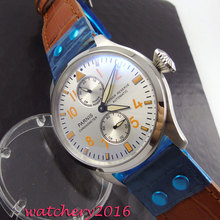 47mm Parnis white dial yellow numbers power reserve Complete Calendar Automatic movement Men s business Mechanical