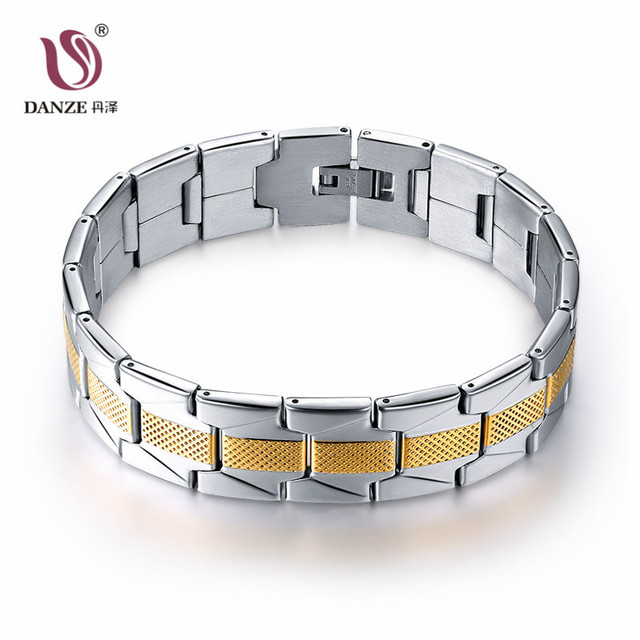 Danze Stainless Steel Bracelet Men Gold Silver Color Wristband Bracelets Bangles Christmas Gift For A