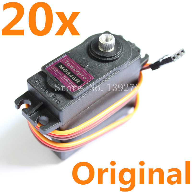 20Units Servo TowerPro Geniune MG946R Digital Metal Gear High Torque 13kg 55g For Robot Helicopter Car Boat Model Free shipping-in Parts & Accessories from Toys & Hobbies    1