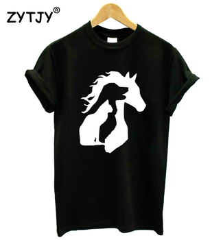 ANIMAL LOVER Horse Dog Cat Print Women tshirt Casual Cotton Hipster Funny t shirt For Girl Lady Top Tumblr Drop Ship BA-270