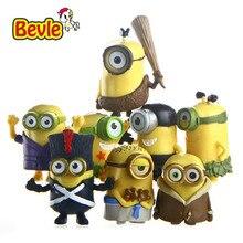 Bevle Despicable Me 8pcs/lot Barbarism Primitive Minions Family PVC Action Figure Model Kit Toy Doll Decoration