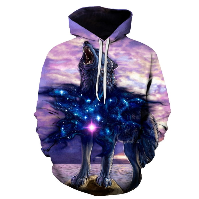 2018 New Fashion Wolf Hoodies Men/women 3d Sweatshirts Print Double Wolf  Hoody Hooded Hoodies Tracksuits Tops
