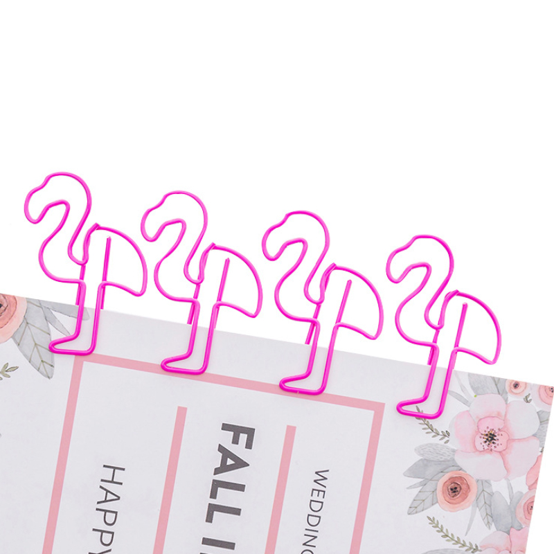 5pcs/lot Kawaii Cartoon Pink Flamingo Metal Bookmark Mini Paper Clip Book Markers  School Office Supply