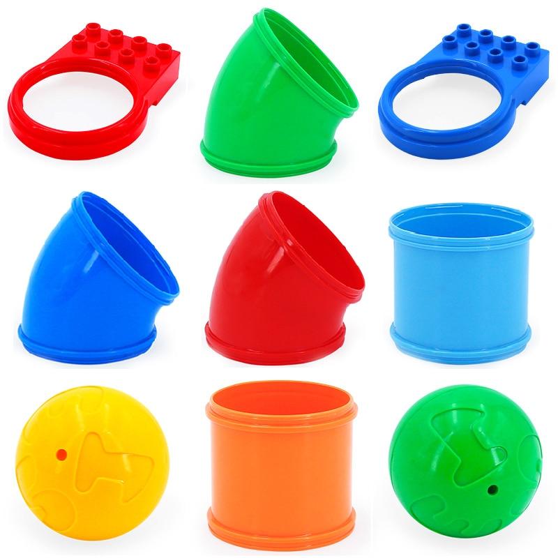 Sliding pipeline Construction Track Bricks Big size Building Blocks accessory DIY Toys Compatible Duplo Rolling balls Sets Gift