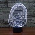 3D Acrílico Lâmpada de Mesa LEVOU Mesa de Música Fone de Ouvido fone de Ouvido Cabo USB Luz Luminarias Visual Da Cor Mutável Lâmpada para Quarto de crianças