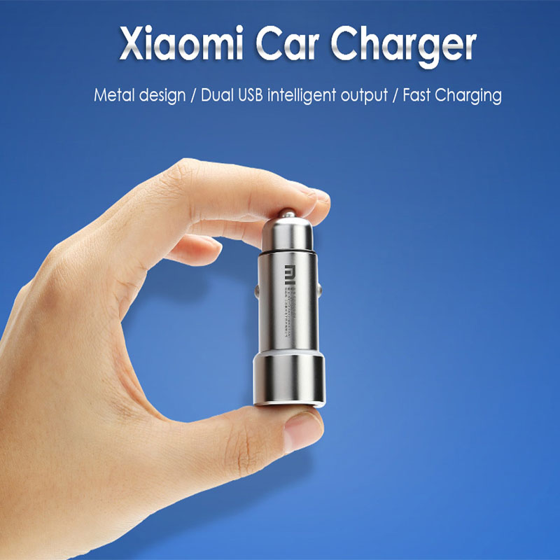 New Original Xiaomi Car Connector Charger Sigarter Lighter Dual USB 5V/3.6A Volt Quick Charge Full Metal For Phones Tablet PC high quality universal smart fuse circuit breaker protection dual usb port 5v 2 1a 1a car charger for mobile phones tablet pc