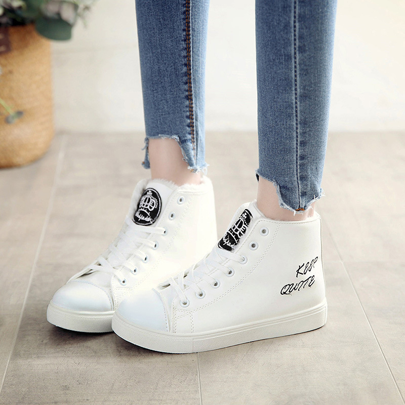 Fashion platform winter women causal shoes warm plush flat female snow ankle boots lace up waterproof leather boots new DBT1087