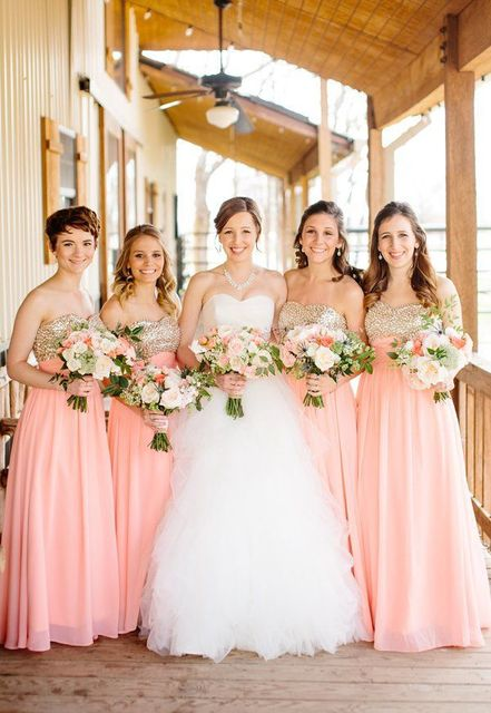 2015 Sweetheath Chiffon Sequins Floor Length Peach Bridesmaid Dresses Party Dresses for Bridesmaids Free Shipping