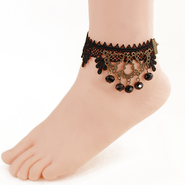 lot lace wholesale chain women fine product piece wedding ankle anklet tassel pcs jewelry foot gift metal black bracelet