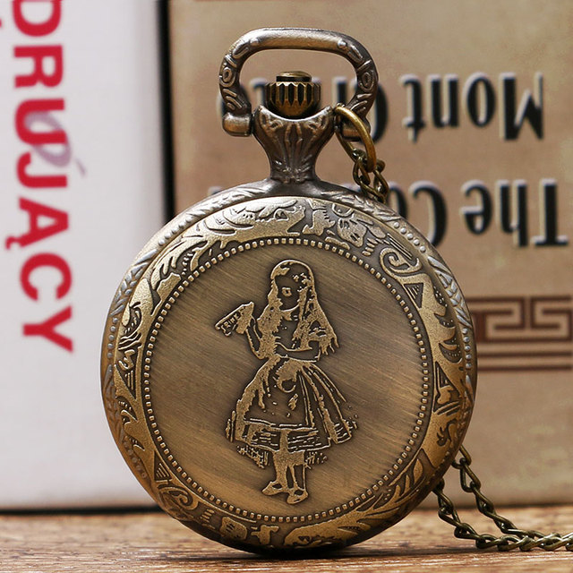 Cute Alice In Wonderland Design Pocket Watch Women Girl Watches Pendant Clock Hi