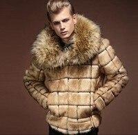 Mens Nagymaros Collar Fur Coat Personality Artificial Leather Grass Rabbit Fur Jacket Large Size Turn Down Collar Outwear J529