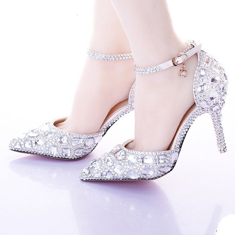 Silver Pumps AB Color Bridal Shoes Rhinestone High Heel Glitter Women Pumps Pointed Toe Ankle Straps Wedding ShoesSilver Pumps AB Color Bridal Shoes Rhinestone High Heel Glitter Women Pumps Pointed Toe Ankle Straps Wedding Shoes