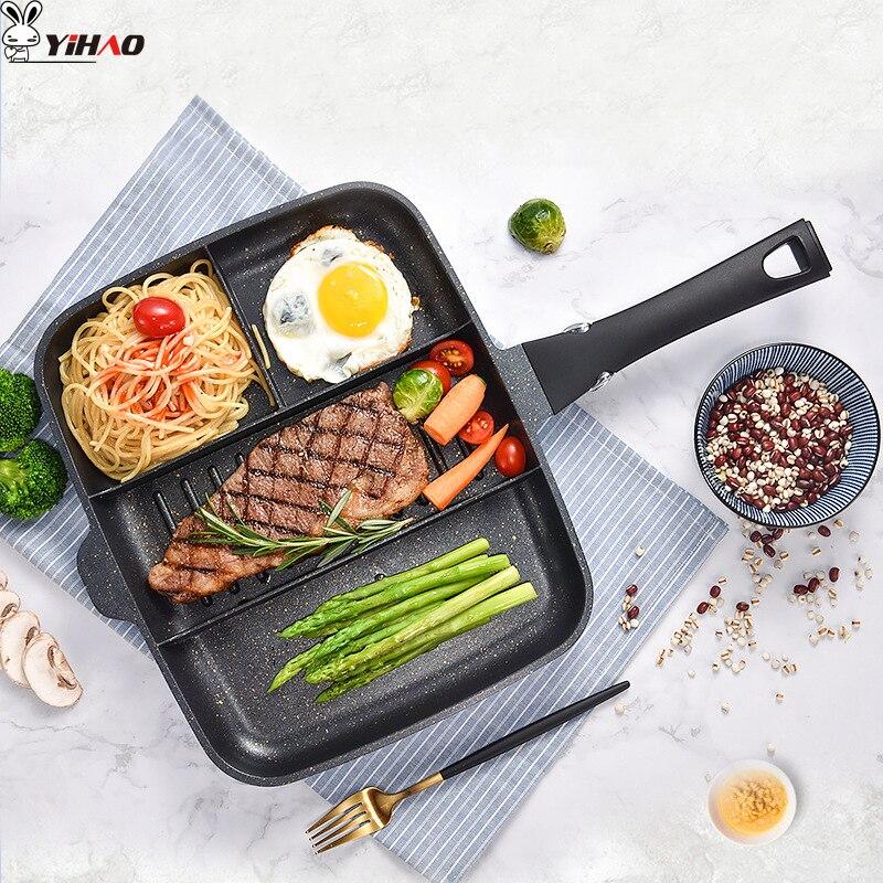 YIHAO 33*27cm Maifanshi petit-déjeuner Pot maison multi-fonction poêle antiadhésive poêle Steak Pot Kithen outil