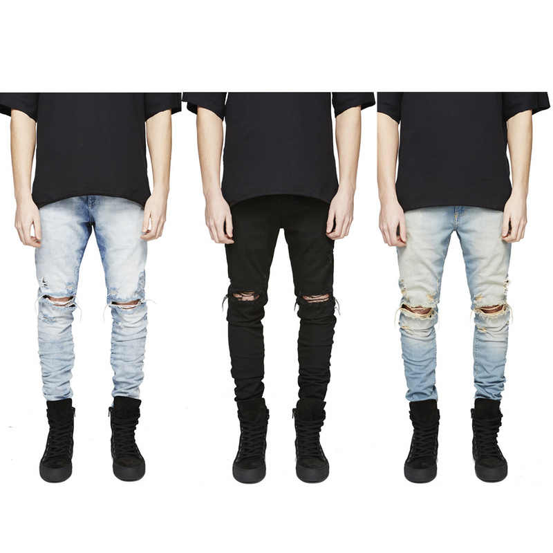 Новинка 2016 года; модные рваные джинсовые тренировочные штаны с оригинальным дизайном; брендовые джинсы; роскошные мужские уличные обтягивающие штаны в стиле хип-хоп Kanye West