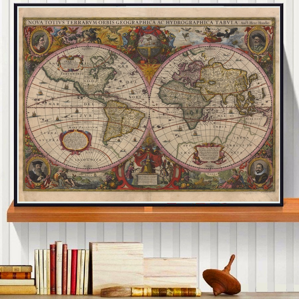 vintage world map canvas art print painting poster wall pictures for room decoration home decor silk