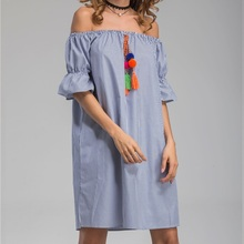 CHANGYUGE Casual Blue Striped T Shirt Summer Dress Women Off The Shoulder Vintage Tassel Loose Sexy Beach Midi Sundress