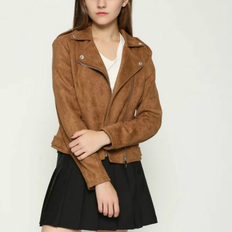 S-XL   Suede   Solid Color   Leather   Jacket Slim Short Fashion   Leather   Jacket Deerskin Coat Women's Clothing