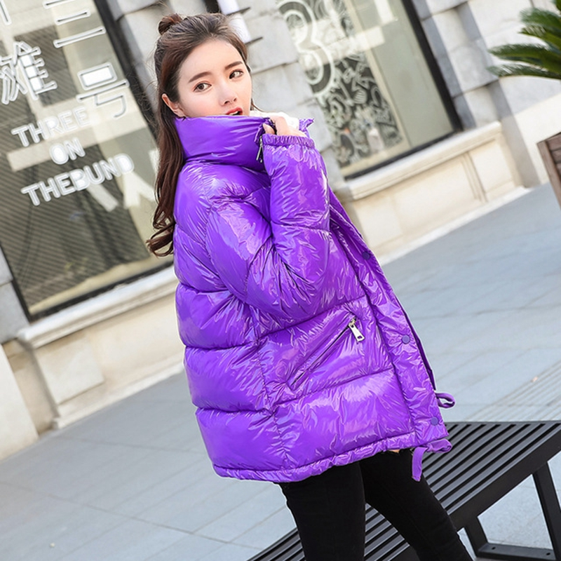 2018 New Fashion Metal Solid Black Red Bright Jackets Coats Women's Winter Warm Down Cotton Padded Long   Parkas   Outwear