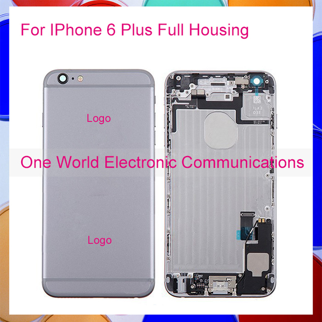 10pcs/lot Black White Gold Rose New For IPhone 6 Plus Full Middle Frame Housing Battery Door Rear Case Cover Flex Cable Assembly