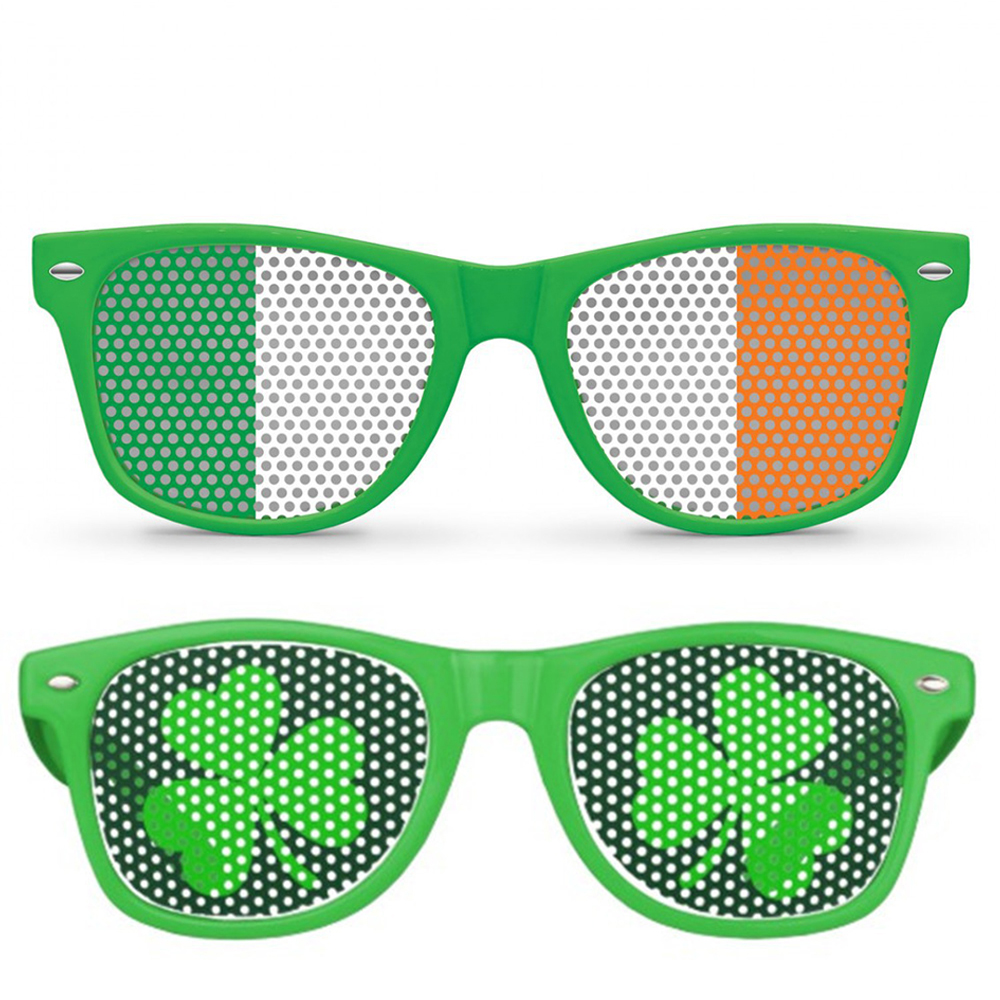 Glorious Funny Shamrock Design Sunglasses Creative Holiday Cosplay Costume Glasses Accessory Men's Glasses