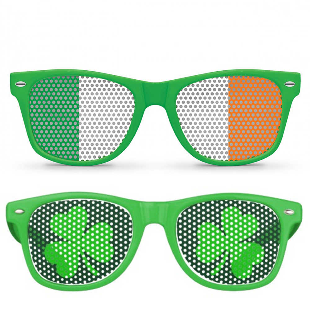 0ffa4e1a218f 1PC Funny Shamrock Design Sunglasses Creative Holiday Cosplay Costume  Glasses Party Masks For Spring St.