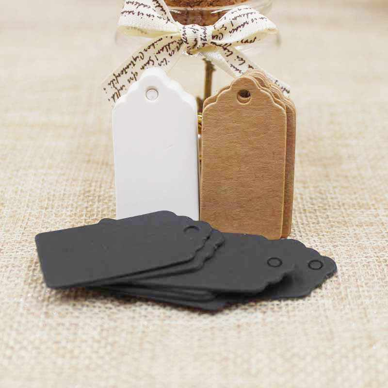 100pcs 2018 hot sale new Packaging Label Brown Kraft/white/black Paper hangTags DIY Food Label Wedding Gift Decorating Tag 2*4cm