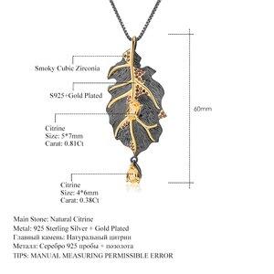 Image 5 - GEMS balet Georgia Okeeffe 1.19Ct naturalny cytryn 925 srebro Handmade wisiorek z listkiem przypinane broszki dla kobiet Bijoux