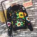 Vintage Sweater New 2016 Autumn Winter High Quality Women Black Slim Flowers Embroidery Fashion Elegant Sweaters